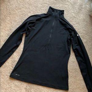 Nike Pro Dri Fit Half Zip Long Sleeve Top Black L